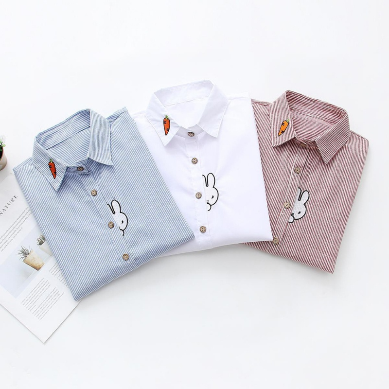 N ROPALIA Autumn Cartoon Fishing Cat Embroidery   Shirts   Long Sleeve Fine Striped   Blouses     Shirt   Cotton Casual Women Blusas Tops