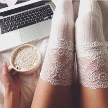 New Fashion 3 Colors Striped Thigh High Stockings Women Lace Sexy Cotton Stocking Autumn spring  Knee Socks Over The Knee lace up over the knee socks