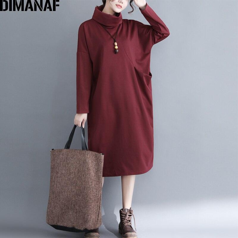 DIMANAF Women Long Dresses Winter Turtleneck Elegant Lady Vestido Plus Size Cotton Female Clothes Loose Vintage