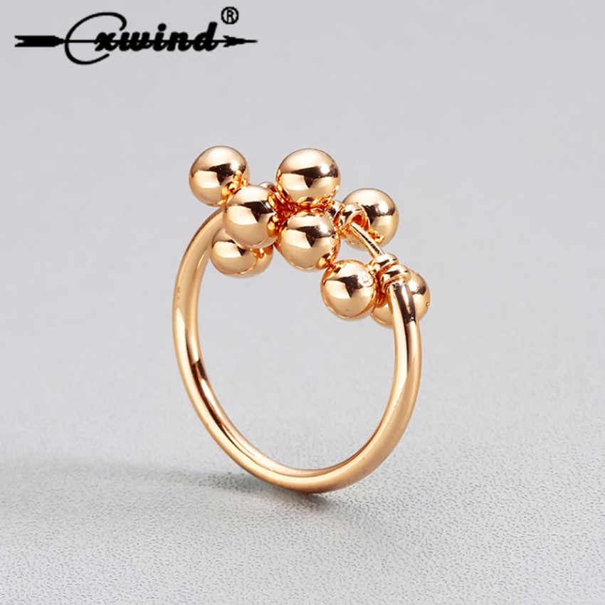 Cxwind Fashion Twisted Vine Grape Balls Rings for Women's Knuckle Bead Ring Gold Color Finger Jewelry Gift Female Statement Ring