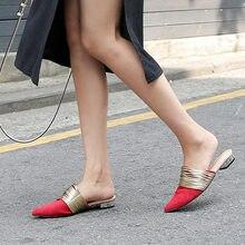 ea11b92526 Ins hot narrow band mules slippers women flat microfiber leather single  shoes female brand designer flats