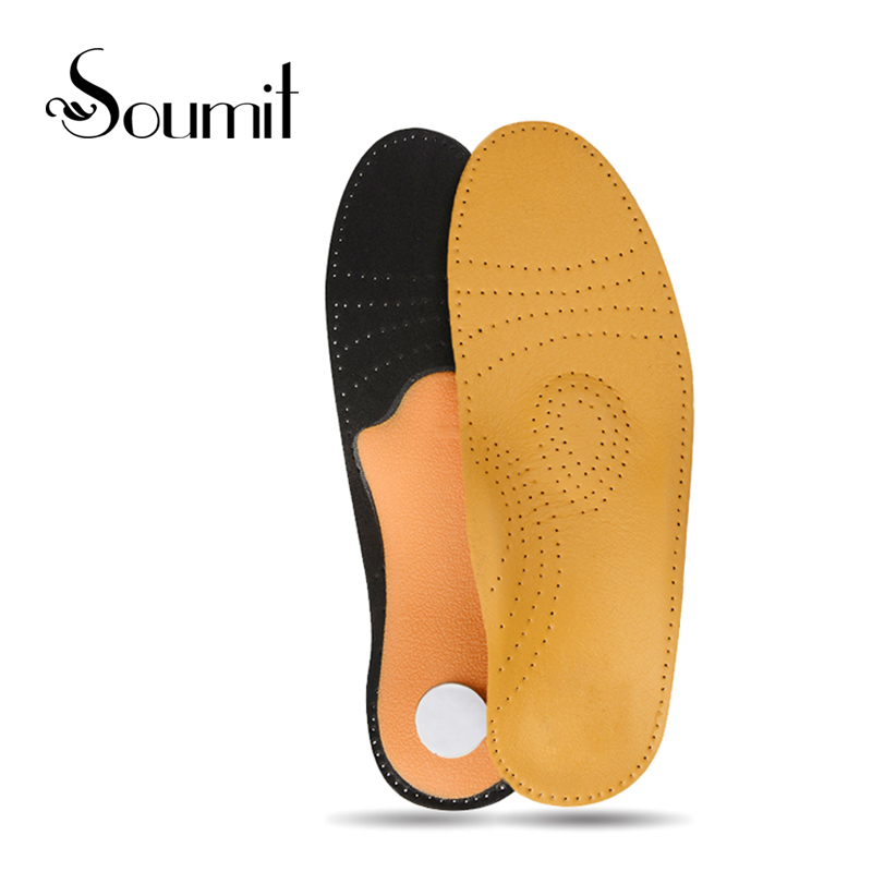 Soumit Leather Comfort Orthotic High Arch Support Orthopedic Insoles for Men Women Flat Foot Correct Insert Shoes Insoles Pads kids children pu orthopedic insoles for children shoes flat foot arch support orthotic pads correction health feet care w046
