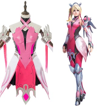 OW Cosplay Costume Mercy Angela Ziegler Pink Mercy Skin Cosplay Costume For Girls Females Halloween Carnival Custom Made фото