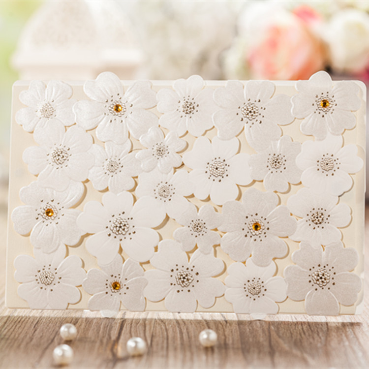 100pcs Cw5059 White Horizontal Laser Cut Flower With Bowknot Clic Style Enement Wedding Invitations China