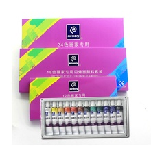 Water-resistant 12 Colors 12ML Tube Acrylic Paint set color Nail glass Art Painting paint for fabric Drawing Tools DIY