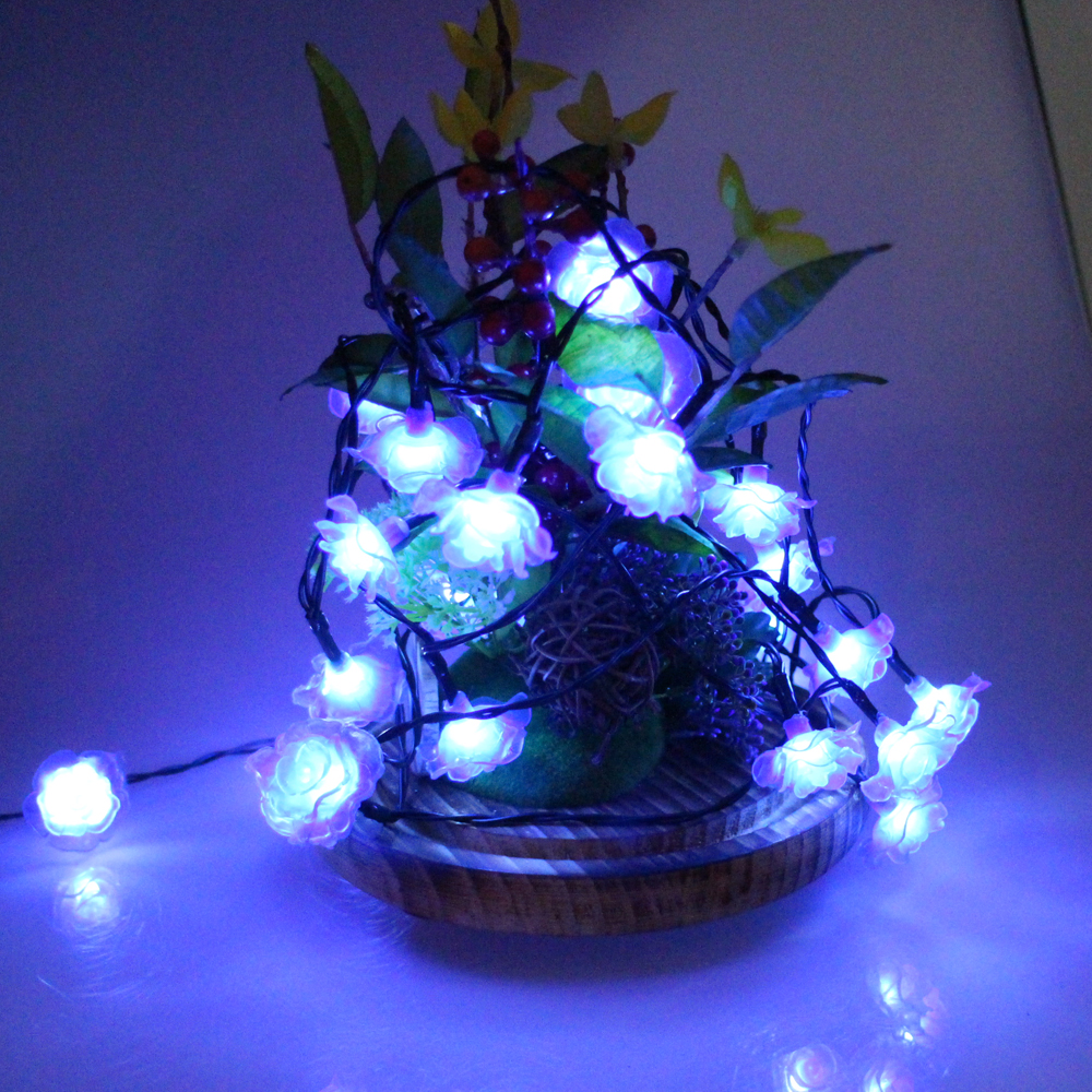 Rose christmas ornament - 6m 60led Wedding Rose Battery String Lights Decoration Valentine S Day Christmas Festival Party Garden Bedroom Lumiere