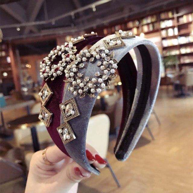 Korea Hand Made Velvet  Pearl Zircon Retro Hair Accessories Hair Band for Girls Flower Crown Headbands For Women
