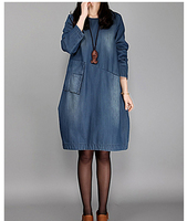 Spring And Autumn Korean Version Of Large Size Women Dress Fashion Loose Long Sleeved And Long