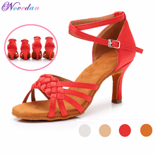 New Red White Women Latin Dance Shoes Ballroom Tango Ladies Girls Soft Sole Satin Salsa Dancing Shoes For Women Grils wholesale ladies wedding bridal party dancing shoes salsa ballroom latin tango dance shoes all size suede sole