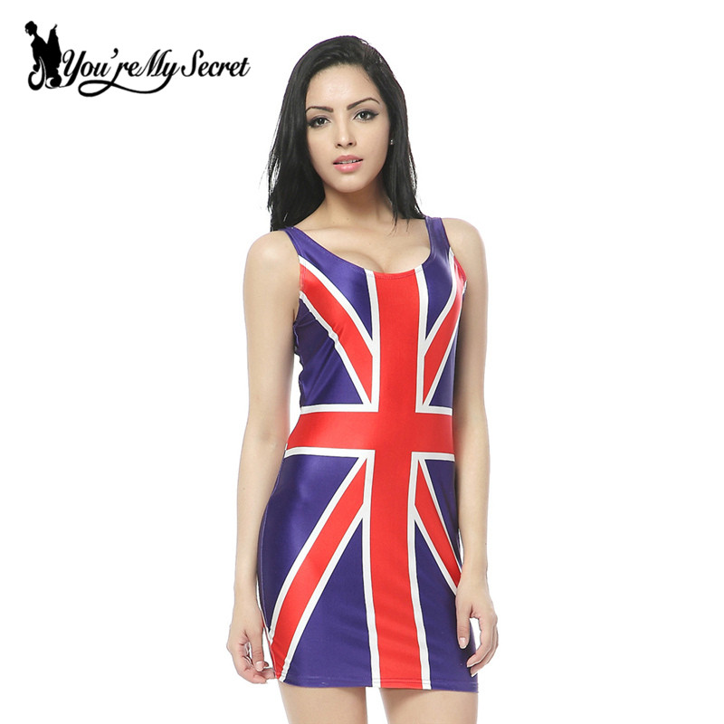 [You're My Secret] 2017 Summer Women's Fashion Flag Union Jack Tank Dress Black Milk Sleeveless shirts Drop shipping