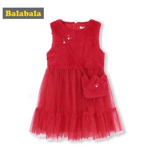 Image 1 - Balabala Bé Gái Lông Thỏ Áo Đầm Voan Chéo Túi Cơ Thể Cho Trẻ Em Max Vải Tiệc Cưới Áo Lót