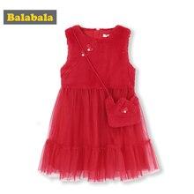 Balabala Girls Rabbit Fur Sleeveless Tulle Dress Cross Body Bag Children Kid Max Fabric Wedding Party Dresses Lined