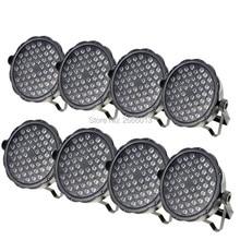 8pcs/lot 54x3W LED Par Light RGBW Flat Par DMX512 Control Disco Lights Professional DJ Equipment Dyeing Lamp LED Wash Wall Light