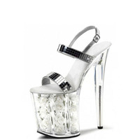 8 Inch White Flowers Fashionable Wedding Heels Silver Glitter Strappy Sandals Stripe Platform Pole Dancing Shoes
