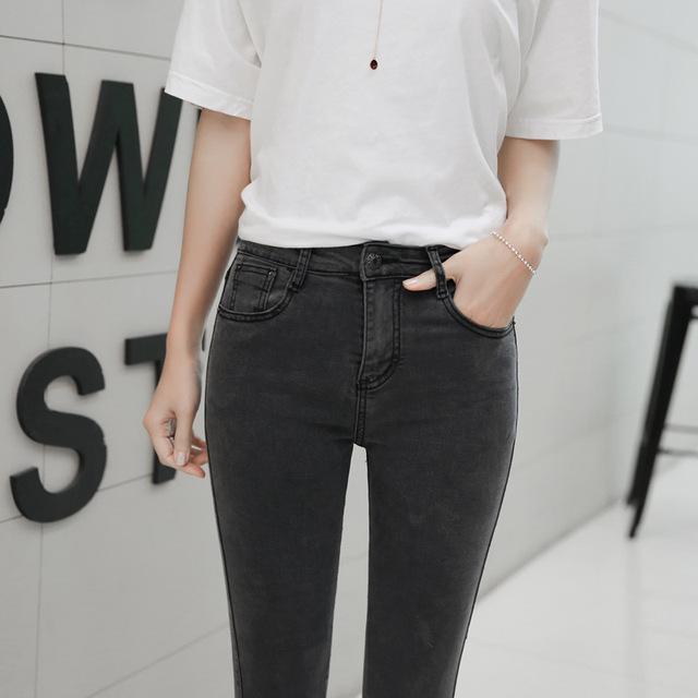 2018 Women Jeans Spring Autumn Elastic Waist Trousers Ladies Vintage Pencil Slim Skinny Jeans Black Gray Casual Soft Lady Pants