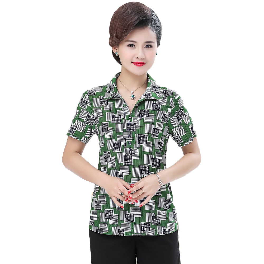 Middle Aged Women Summer Shirts Red Green Yellow Print Top Mother Turn Down Collar Short Sleeve Blouse Woman Casual Shirt Mom