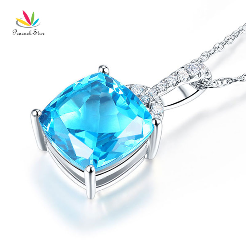 14K White Gold 4 Ct Cushion Swiss Blue Topaz Pendant Necklace 0.1 Ct Diamond
