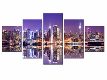 Framed 5 Panels Beautiful city landscape Canvas Print Painting Modern Wall Art for Picture Home Decor Artwork