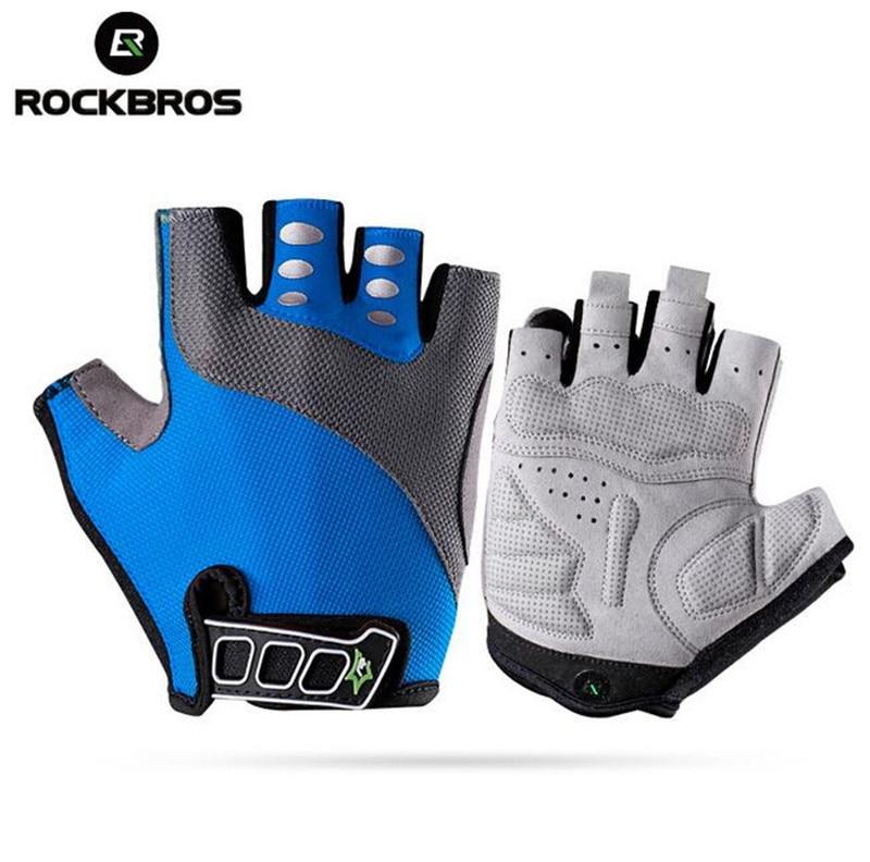 RockBros Bike Bicycle Half Finger font b Gloves b font Gel Pad Half Finger font b