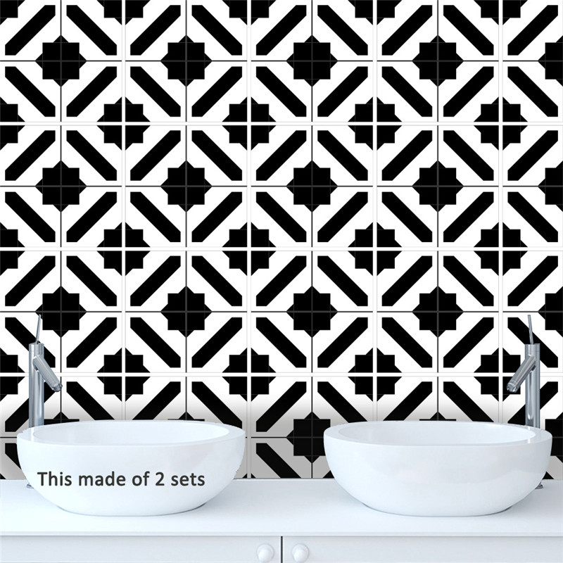 Modern Black And White Pattern Square Removable Waterproof Tile Stickers Muraux Home Decor Living Room Furniture Wall Decals