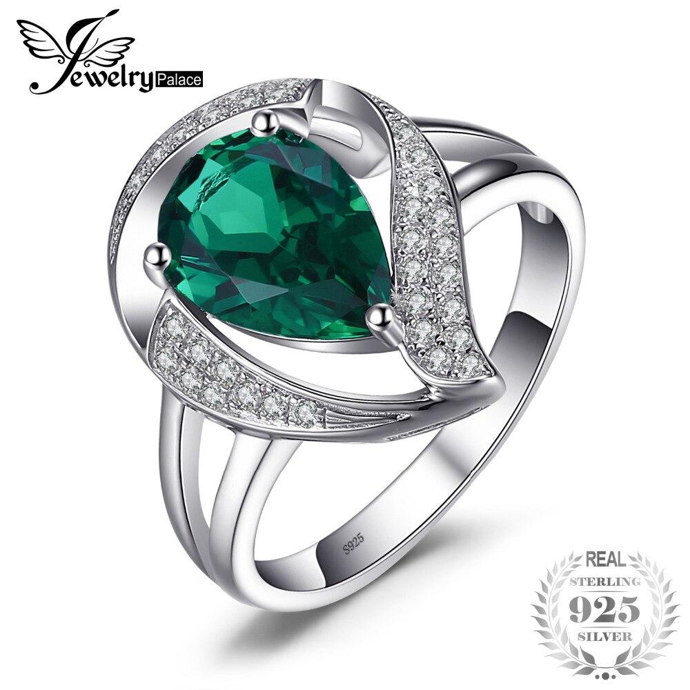 JewelryPalace Ring Für Frauen Erstellt Smaragd Ringe 925 Sterling Silber Mode Hochzeit Geschenk Mädchen Freunde Liebhaber