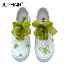 Small Fresh Hand-painted Shoe Children Graffiti Canvas Shoes College Girls White Simple Breathable Summer Autumn Green Shoelaces