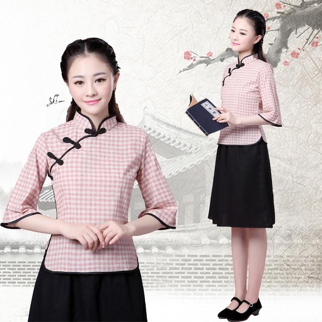 bb5c975e8 China Vietnam Ancient Students adult female cotton Linen Made youth Dress  Suit winter uniforms graduation Chorus Top + Skirt. 2 orders