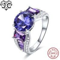 JC Vòng New Cầu Vồng Topaz & Tanzanite Amethyst Rắn 925 Sterling Silver Silver Ring Kích 6 7 8 9 Sang Trọng Thanh Lịch Phụ Nữ Fine đồ trang sức