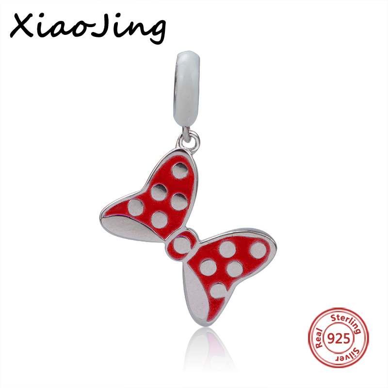 Fit Original pandora Bracelet Necklace Authentic New Style 925 Sterling Silver Red Bowknot Charm Pendants Beads Jewelry Gifts in Beads from Jewelry Accessories