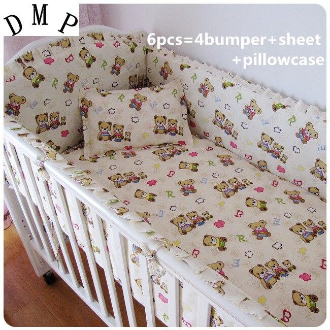 Promotion! 6/7PCS Bear Hot Crib Set Bedding Sets Baby Cribs Cot Bedding for Girls, 120*60/120*70cmPromotion! 6/7PCS Bear Hot Crib Set Bedding Sets Baby Cribs Cot Bedding for Girls, 120*60/120*70cm