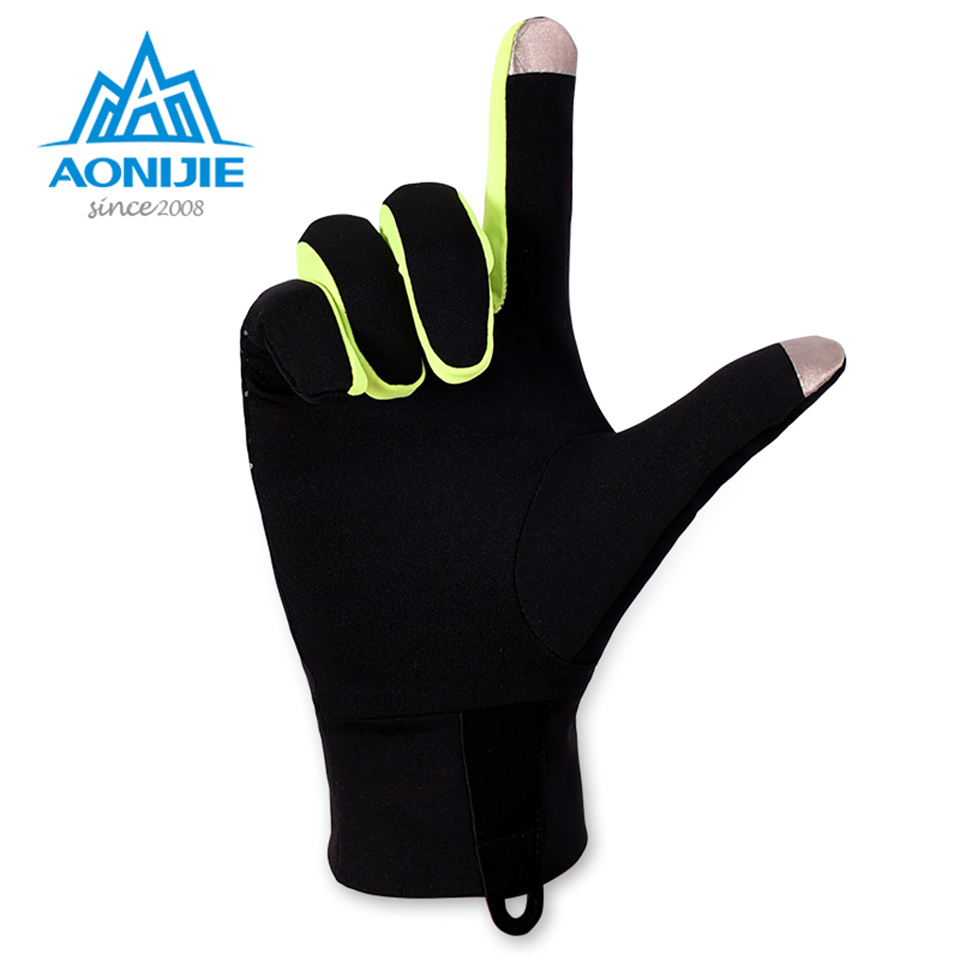 AONIJIE Outdoor Sports Gloves Men Women Warm Windproof Cycling Hiking Climbing Running Ski Full Finger Screen Gloves new mens leather waterproof screen gloves mittens for male winter windproof ski super driving warm proctive gloves
