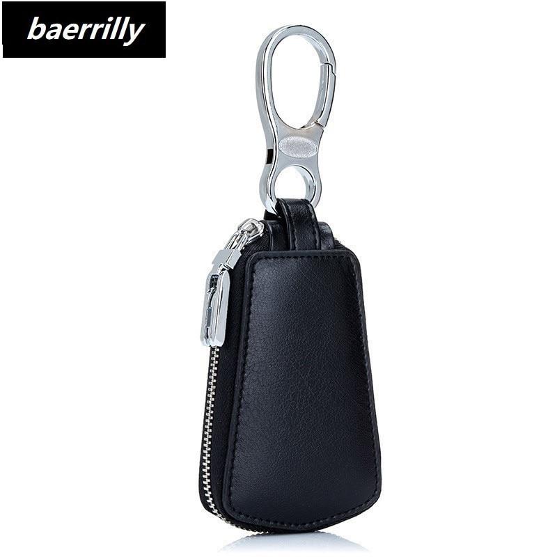 2018 New Design Key Holder Wallet 100% Genuine Leather Unisex Solid Key Wallet Organizer Bag Car Housekeeper Wallet Card Holder