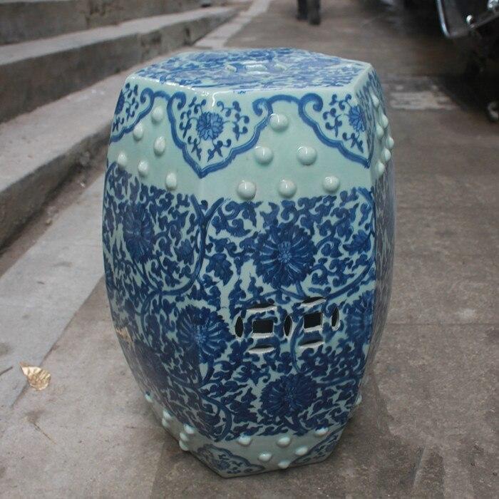 Jindezhen Chinese Ceramic Drum Stool Bathroom Dressing Blue And White  Antique Chinese Garden Stool