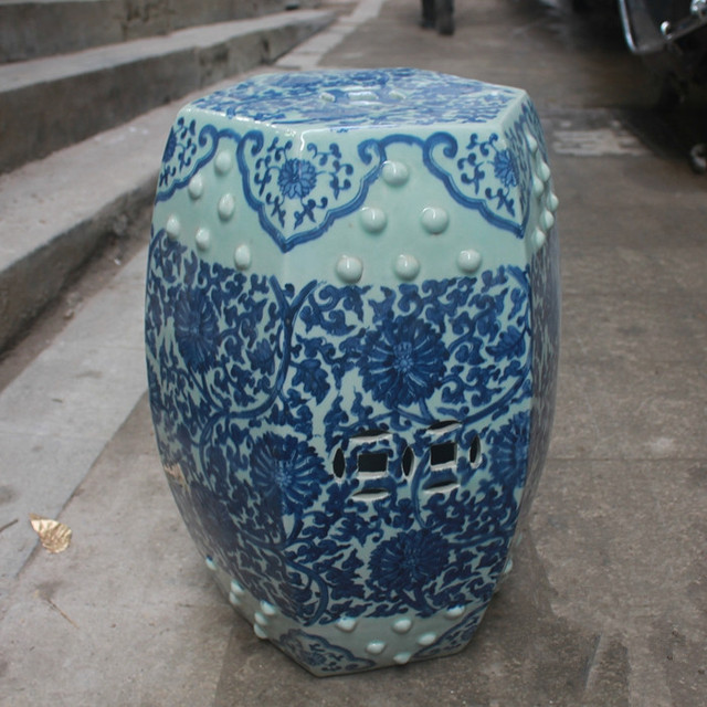 Jindezhen Chinese Ceramic Drum Stool Bathroom Dressing Blue And White  Antique Chinese Garden Stool
