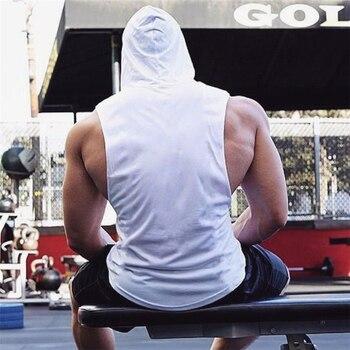 Muscle Guys Brand Mens Gyms Tank Top Hoodies Fitness men Sleeveless Shirt Hooded Sweatshirts Singlets Men Stringer Vest man 4