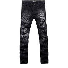 2017 новая мода прямой ногой джинсы длинные мужчины мужской печатные джинсовые брюки прохладный хлопок дизайнер хорошее качество бренда брюки MJB015