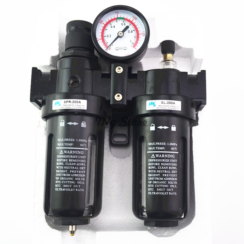 Pneumatic Air Filter Regulator Lubricator Combinations Water Oil Separator 1/4'' 3/8'' 1/2''