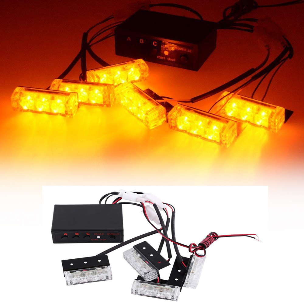 3 Flashing Modes 12V Vehicle Car Front Grille Deck Strobe Flash Emergency Warning Light Bar Car Truck Styling Flashing Lamp