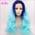 Fashion Sexy 24inch Two Tone Heat Resistant Long Ombre Blue Lace Front Wig Sintetica Hair Peruca Cosplay Free Shipping