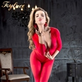 Bright red long sleeve Deep V Opaque Bodystocking