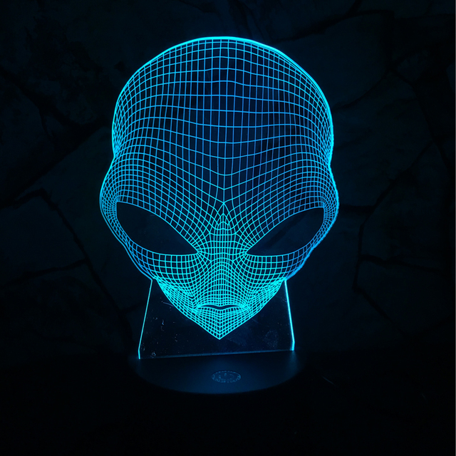 3D Lamp Alien Head Toy USB LED Lighting 7 Colors Changing Illusion ...