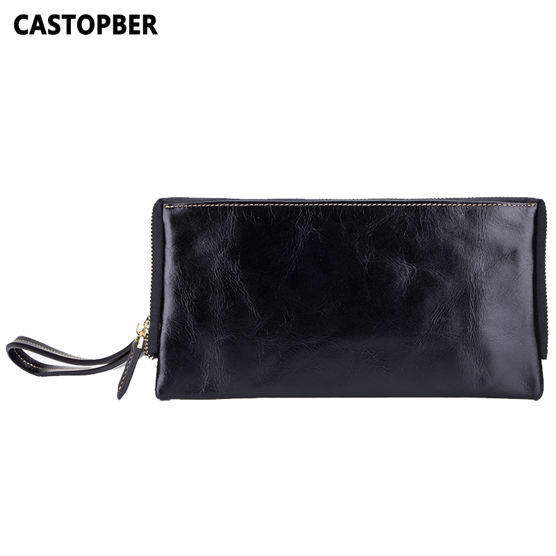 New Designer Woman Oil Wax Genuine Leather Bag Cowhide Fashion Day Clutches Long Purse Female Ladies Handbag For Men Famous Bags genuine leather peekaboo handbag solid woman ladies crossbody purse lock medium handbag bolsa 2015 new designer trend