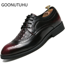 2019 new fashion men's shoes casual leather male classic red or black lace up shoes man size 38-45 brogue shoes for men hot sale mycolen new fashion mens office lace up classic leather shoes men s casual party driving man vintage carved brogue flats