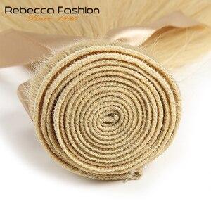 Image 5 - Rebecca brezilyalı düz saç 613 bal sarışın demetleri 1/3/4 demetleri Remy saç dokuma İnsan saç demetleri 10 26 inç