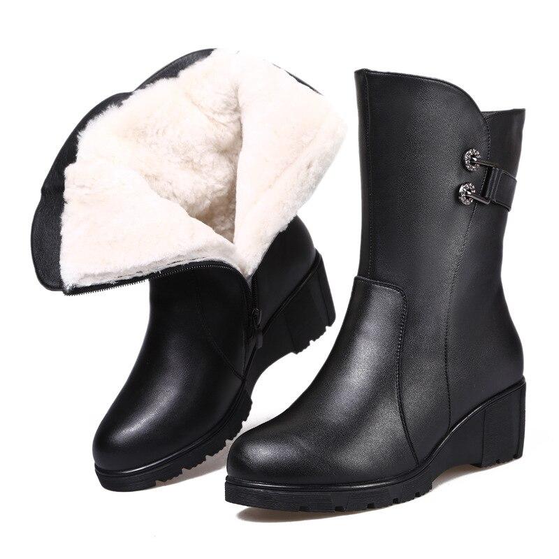 Invernali Scarpe 2018 Zeppa Reale Donna Nuovi Nero Comfort Strass Donne Moda Cotone Delle Caldo Stivali Con Il Di Lana Pelle rwaEnIwq