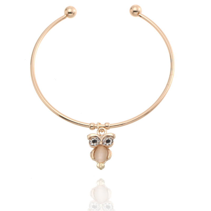 Classical Gold Silver Owl Bracelet For Women Simple Opened Design Bracelet Can Superposition Wear Lady Girl Favourite Present