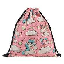 Cartoon Drawstring Bag Spider Man,Mario School Backpack for Boy ,Girls Unicorn Satchel Bundle Rucksack