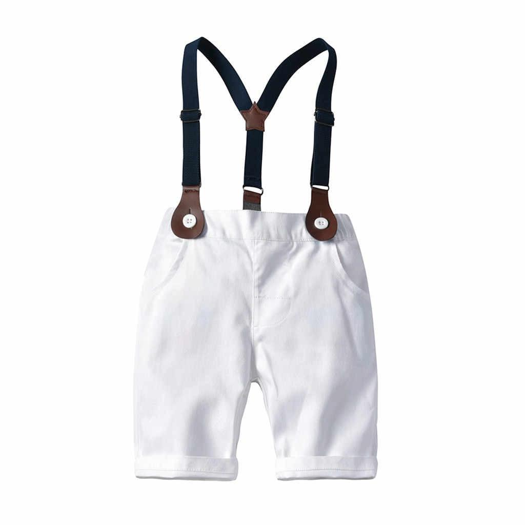 SAGACE ピンクタータンチェックプリントキッズ少年紳士オーバーオール衣装セット服蝶ネクタイ Tシャツトップスショート衣装男の子紳士