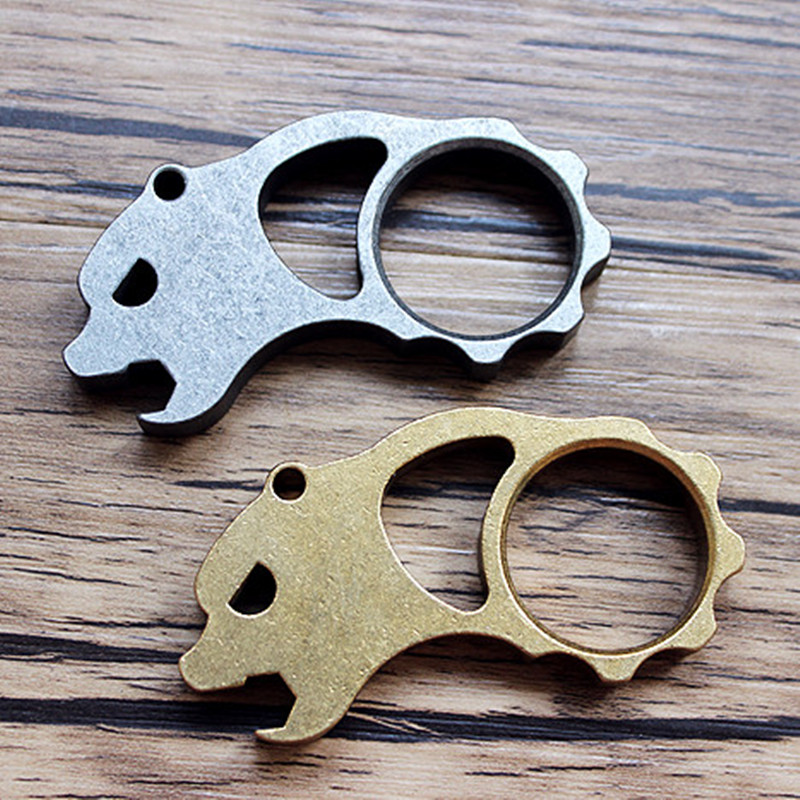 Wire Cutting CNC Bear Head Self-defense Titanium Alloy Knife Beads Paracord Umbrella Rope Outdoor Knife EDC Pendant Multi Tools ...