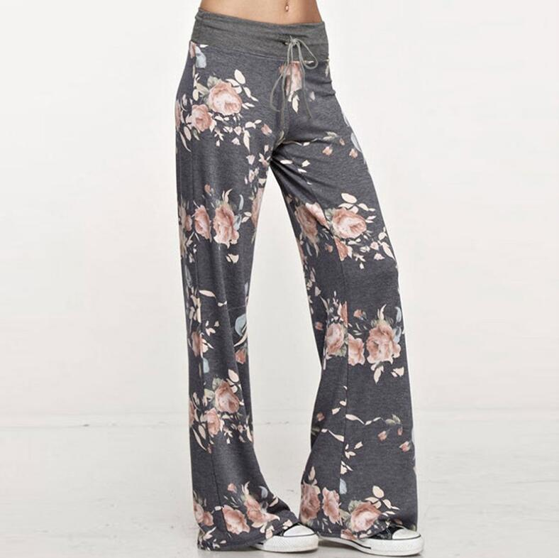 Causal Women Autumn Flower Print Pants Drawstring Wide Leg Pants Loose Straight Trousers Long Female Plus Size Trousers